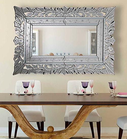 Espejo de cristal enmarcado con cristal en dise o veneciano for Espejos enmarcados