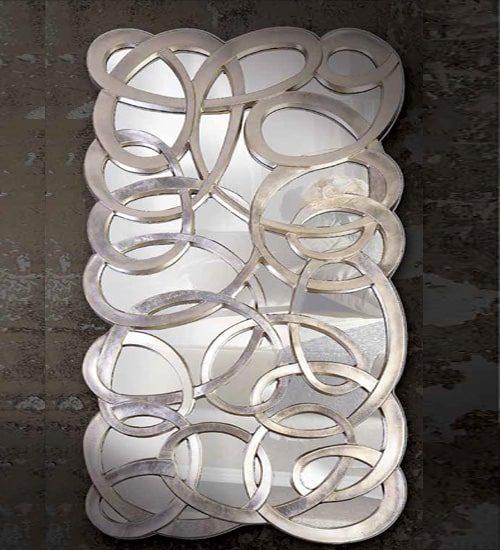 Espejo con lunas de cristal decorativo for Espejo rectangular plateado