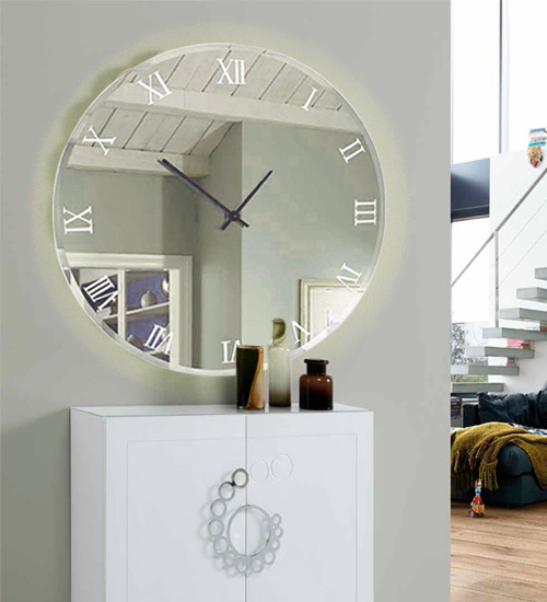Reloj espejo con led casual espejo original de dise o for Oferta espejo pared