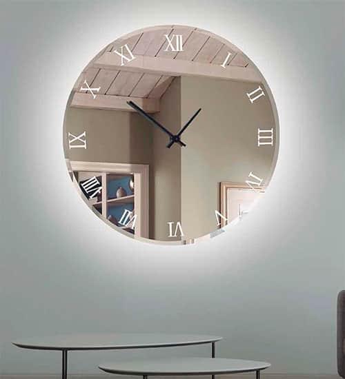 Reloj espejo con led casual espejo original de dise o - Espejos con leds ...