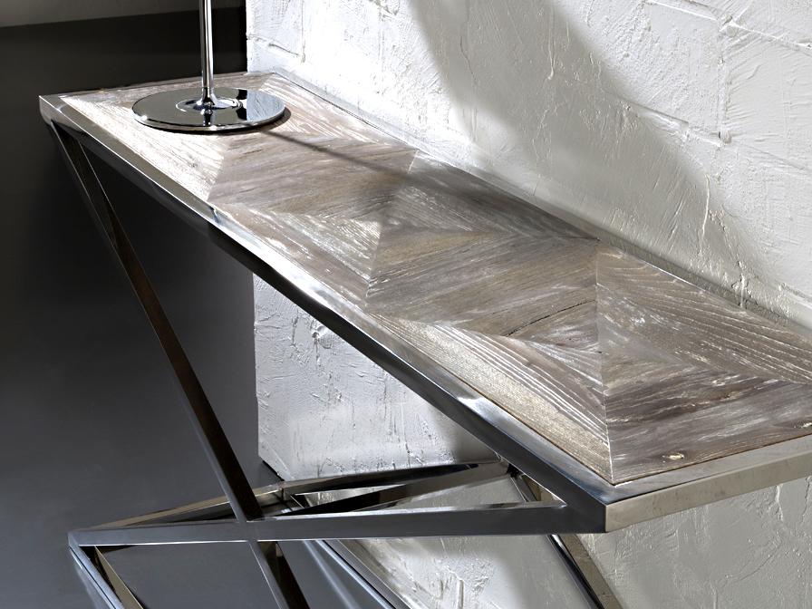 Consola aspa acero dise o italiano con base en acero cromado y tapa en madera anticuario patina - Recibidores de diseno italiano ...