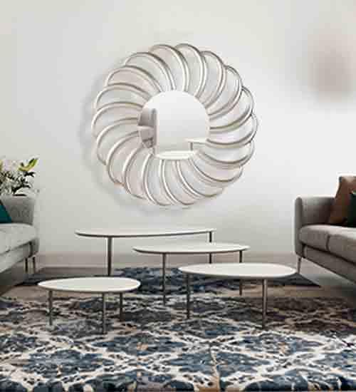 Espejo dubl n redondo plata perfecto para dar elegancia y for Espejos de pared decorativos baratos