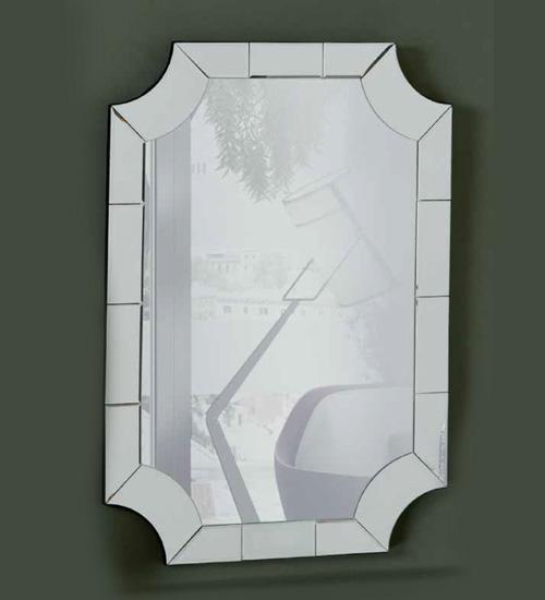 Espejo de cristal enmarcado con cristal en dise o veneciano for Cristal espejo