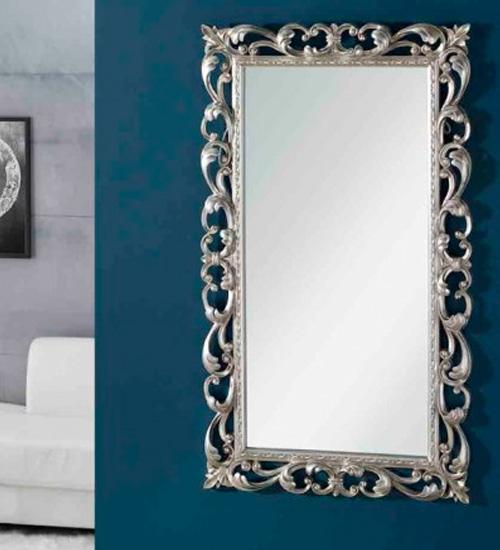 Espejo cl sico vestidor en plata ideal para dar elegancia for Espejo rectangular plateado