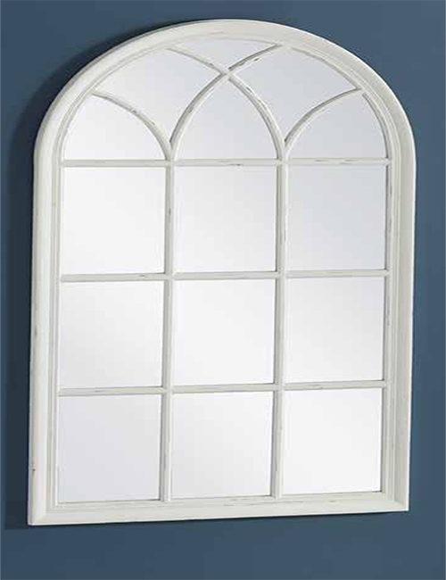Espejo de madera en blanco roto ideal para dar elegacia a for Espejo ovalado blanco