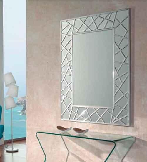 Espejo con marco biselado para pared for Espejo marco cristal