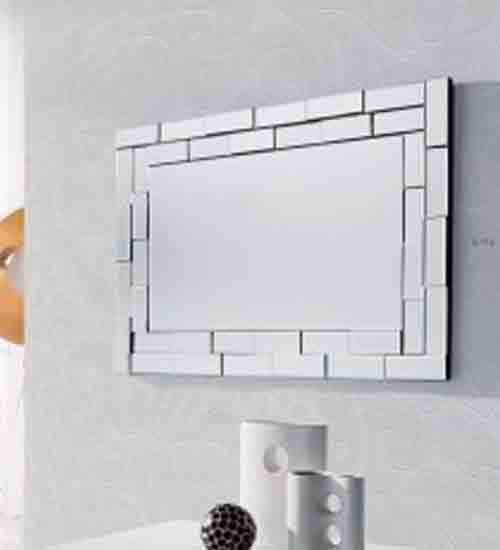 Espejo rectangular para pared con luna biselada for Cristal espejo