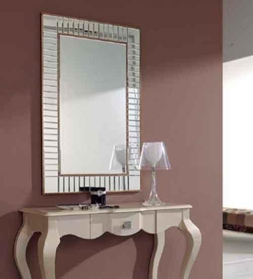 Espejo con marco biselado para pared for Espejos con marco de cristal