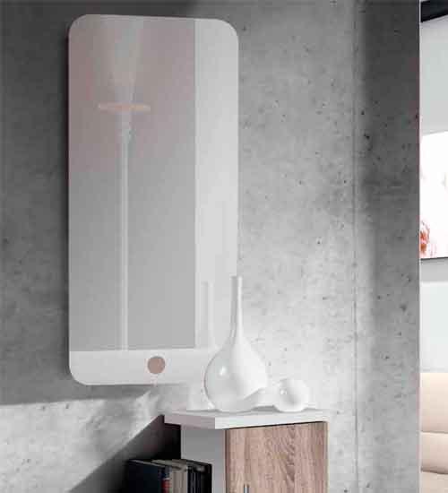 Espejo de cristal rectangular iphone perfecto para hogares for Espejos modernos cristal