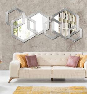 Espèjo de pared Diamond, Espejo de pared decorado a mano con hoja de plata en Italia Killy