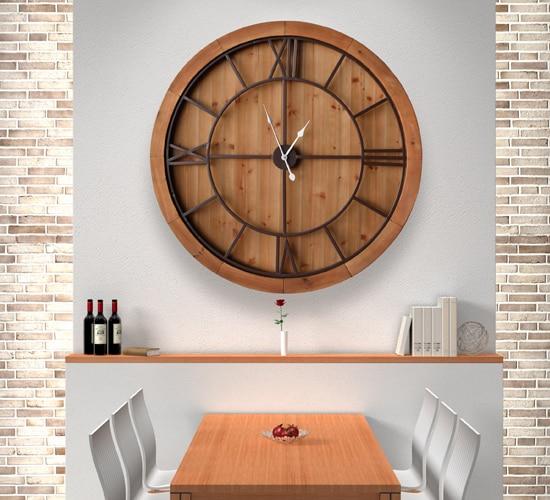 Reloj de pared en madera reloj redondo de comedor o - Reloj decorativo de pared ...