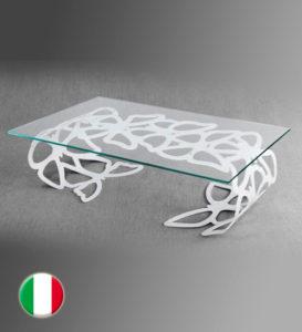 Mesa Tavolino armonico slim con vetro transparente